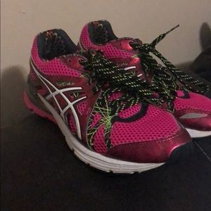 Hot pink ASICS tennis shoes